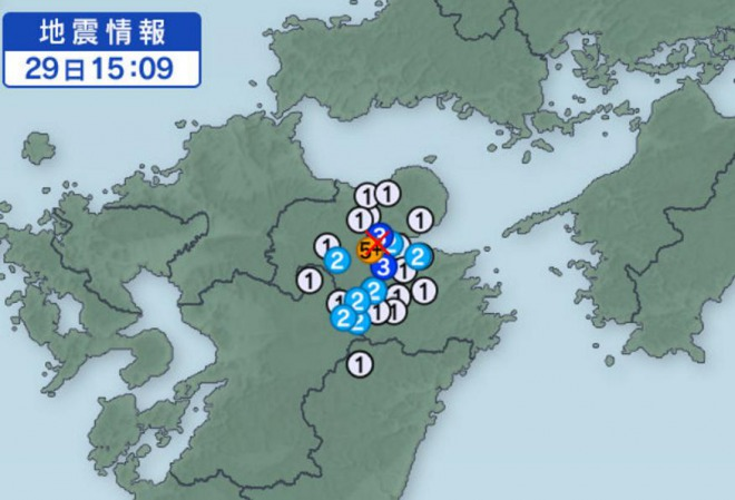 またも九州で震度5強の地震が発生!過去の最高震度を色分けした日本地図が凄すぎると話題に!