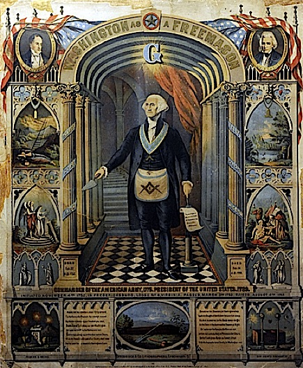 SLUG: ST/MASONS: 09/04/09 CREDIT: Courtesy the George Washington Masonic Memorial LOCATION: Alexandria, VA CAPTION: Story on the upcoming Dan Brown novel involving Masons. We visit the George Washington Masonic Memorial. PICTURED: Copy photo of an exhibit at the memorial. It's a lithograph of Washington as a freemason by Powers and Weeks in 1867. StaffPhoto imported to Merlin on Sat Sep 5 10:27:05 2009