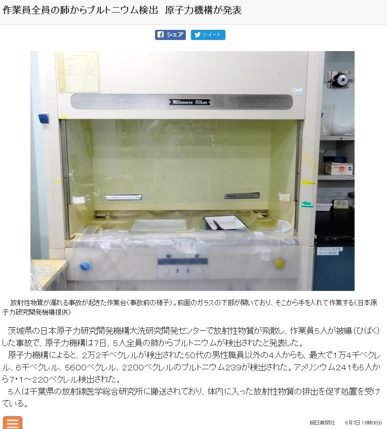 【なぜ?】茨城・大洗の放射性物質被曝事故、朝日新聞が「作業員全員の肺からプルトニウムを検出」と報じるも、これがすぐに削除される!
