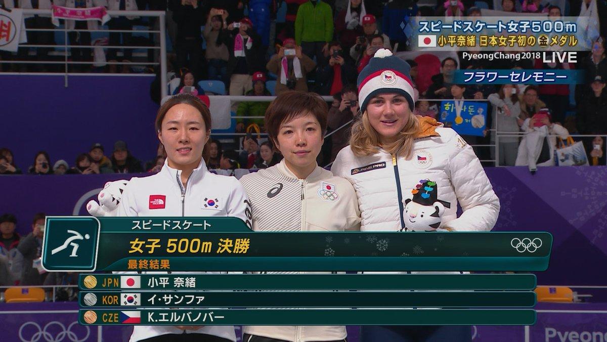 【感動】スピードスケート女子500M、小平奈緒選手が悲願の日本女子初の金メダル獲得!銀メダルの韓国イ・サンファ選手と抱き合い、健闘を讃え合う!