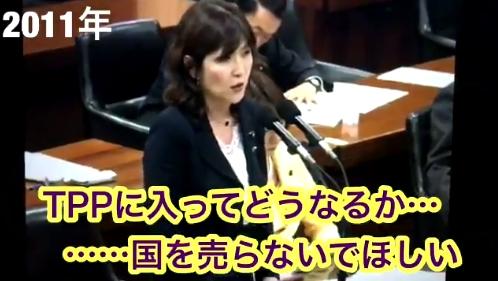 【詐欺集団】自民・稲田朋美議員の11年の発言「TPPはアメリカのためにあるもの、国を売らないで欲しい!」→ネット「TPP で国を売ったのは、あんたの親分だろ!」「売国奴はお前だ」