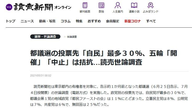 【世論操作】読売新聞の都民への世論調査、「五輪賛成」の声が急増!約半数(49%)が「賛成」に(反対は48%)!世界支配層による「五輪強行」の流れ受け、大手マスコミも「帳尻合わせ」を開始か!